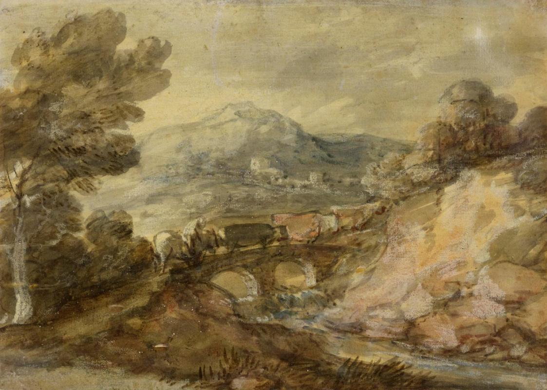Томас Гейнсборо. Пейзаж со стадом коров на мосту