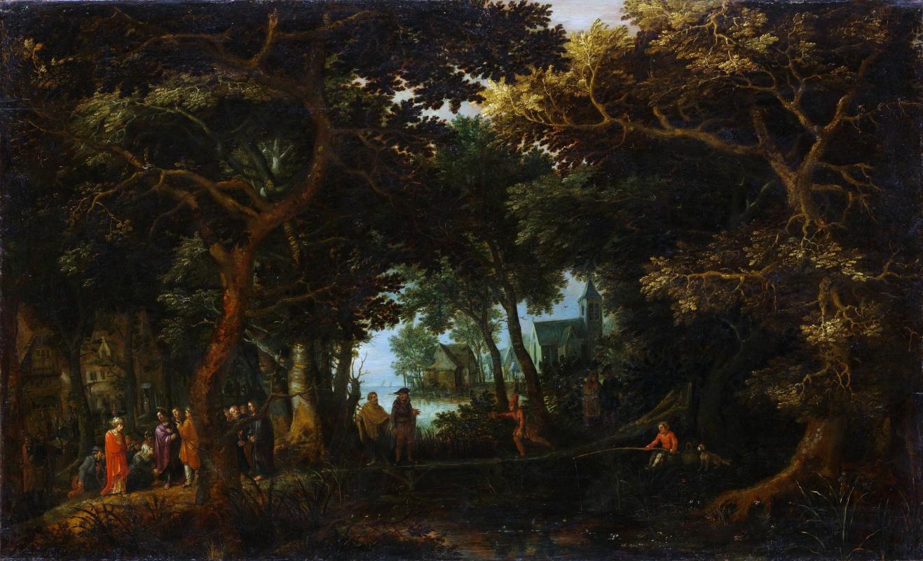 Давид Винкбонс. Лесной пейзаж с двумя чудесами Христа