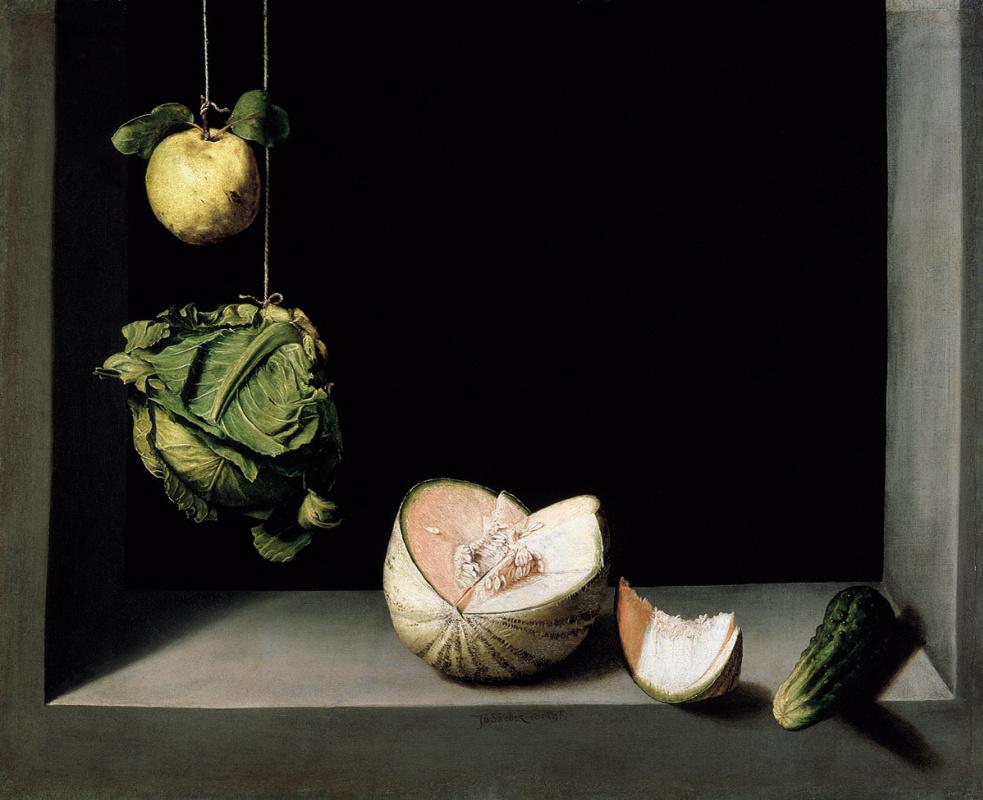 Juan Sanchez de Cotán. Still Life with Quince, Cabbage, Melon, and Cucumber