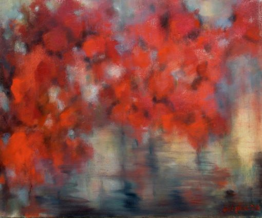"""Michael Yudovsky. """"Red trees over the water."""""""