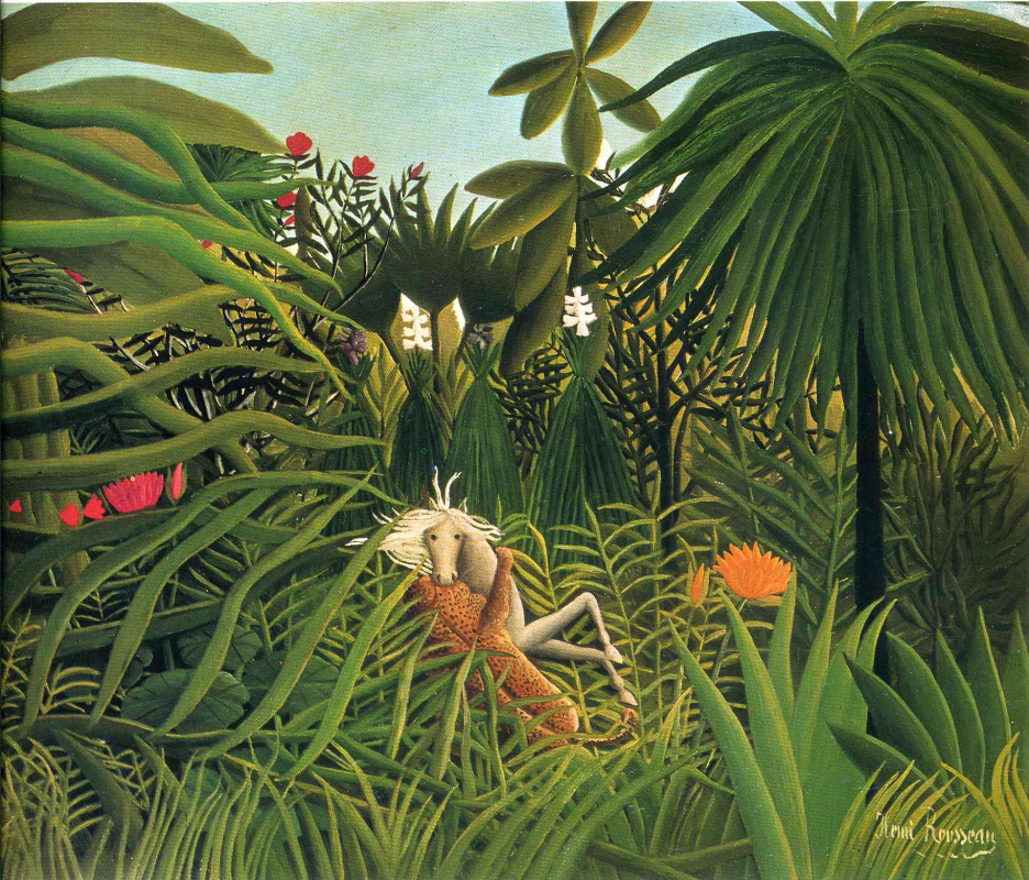 Henri Rousseau. A Jaguar Attacking a Horse