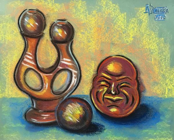 Larissa Lukaneva. Still life with a ceramic candlestick and head