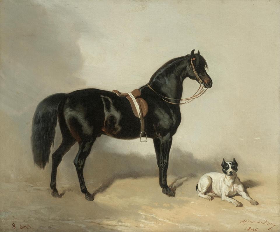 Alfred Dedre. Arabian horse and the bulldog. 1846