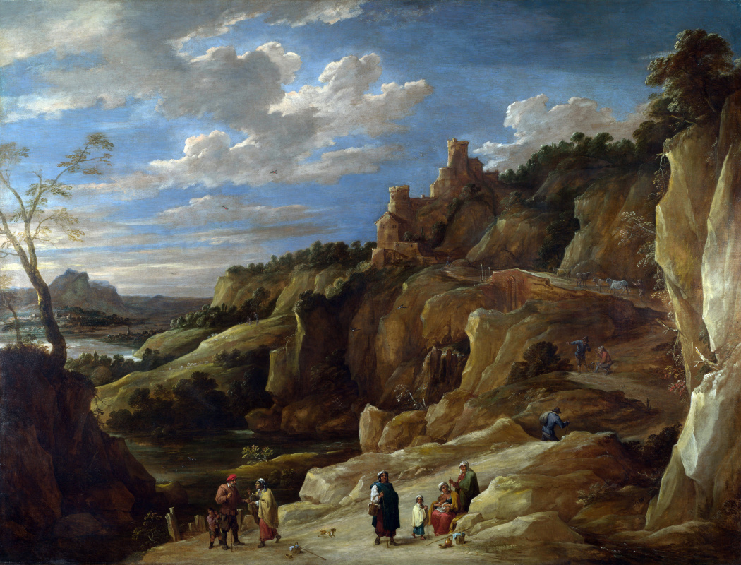 David Teniers the Younger. Hilly landscape with gypsies and fortune teller