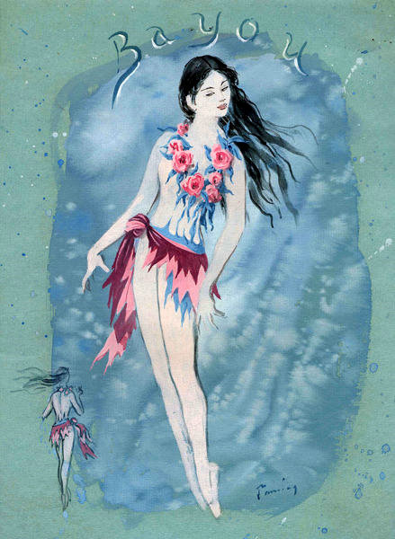 "Dorothea Tanning. River fairy. Costume design for the ballet ""Night shadow"""