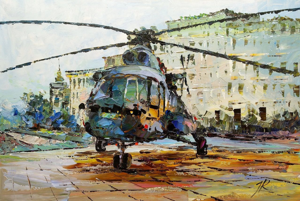 Jose Rodriguez. Helicopter at the landing site