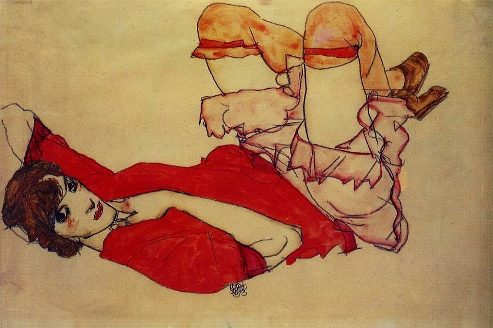 Egon Schiele. Wally in red blouse