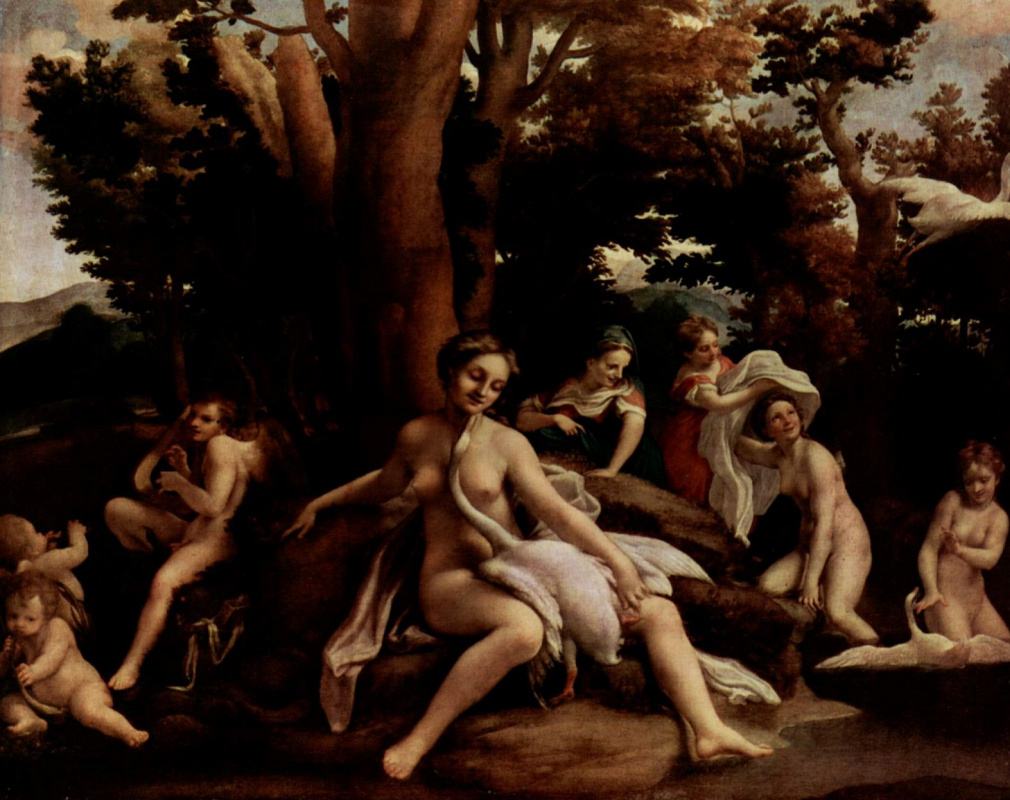 Antonio Correggio. Leda and the Swan