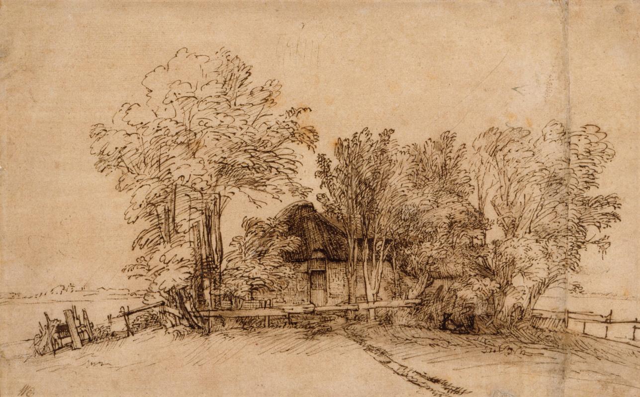 Rembrandt Harmenszoon van Rijn. Hut among the trees