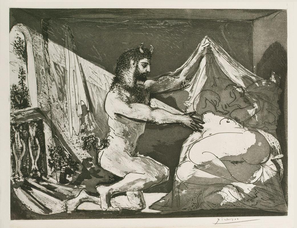 Пабло Пикассо. Сюита Воллара. Фавн, раскрывающий спящую девушку