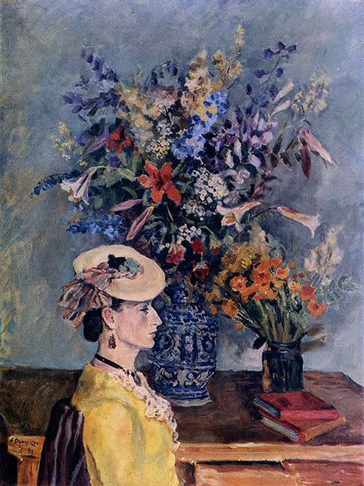 Александр Александрович Осмеркин. Профиль и цветы (в мастерской художника)