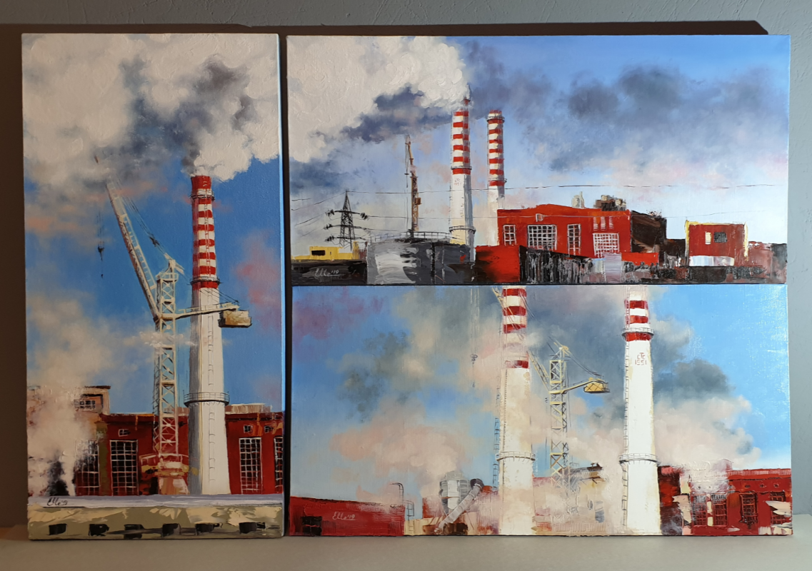 "Katerina Chekrygina. Triptych ""Smoke and the sky."""