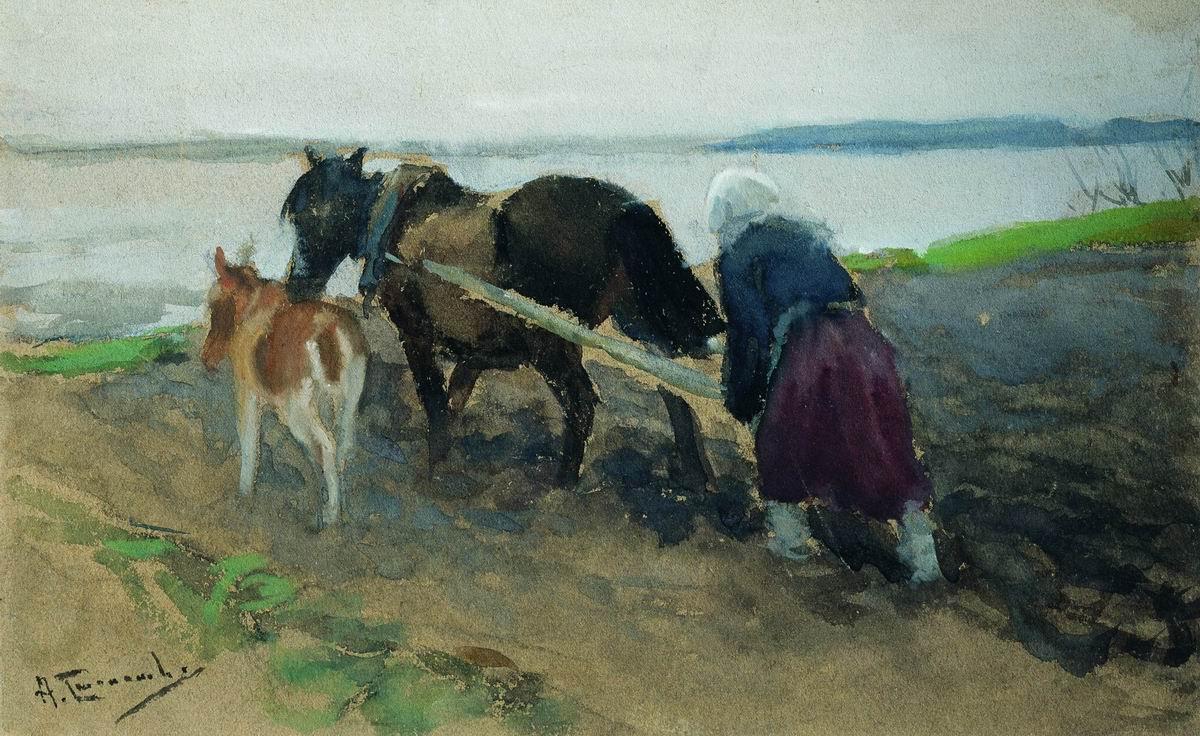 Alexey Stepanovich Stepanov (1780-1887). On arable land. 1919