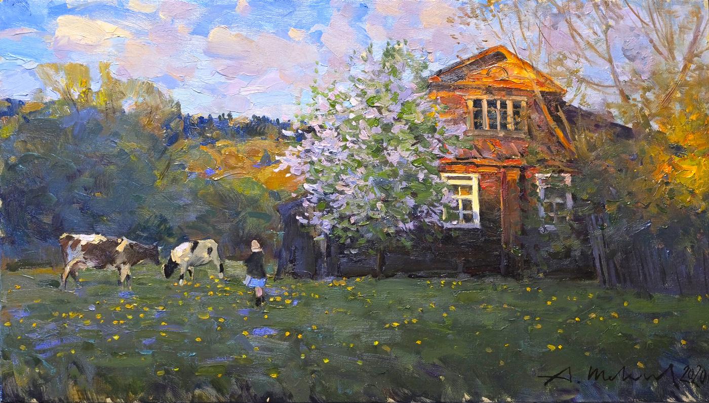Alexander Shevelyov. Spring evening. Oil on canvas, 30.8 x 53 cm.2020