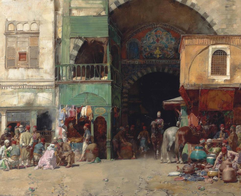 Альберто Пазини. Торговцы перед входом в базар, Константинополь