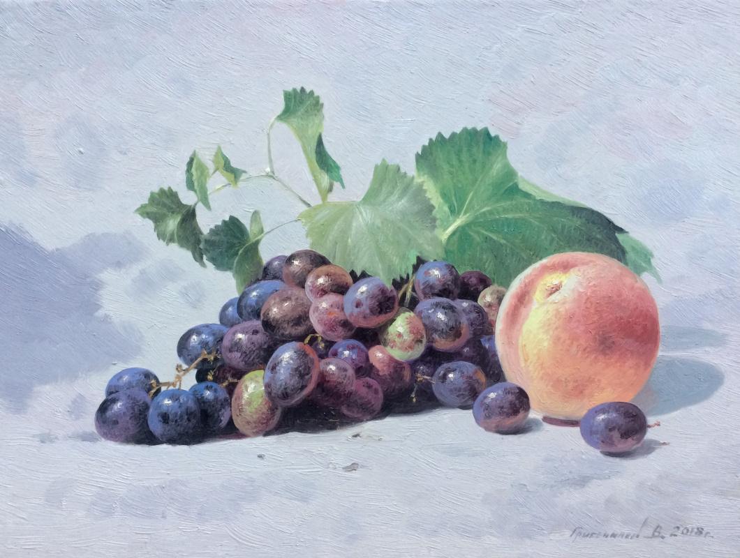 Vasily Ivanovich Gribennikov. Натюрморт с виноградом и персиком