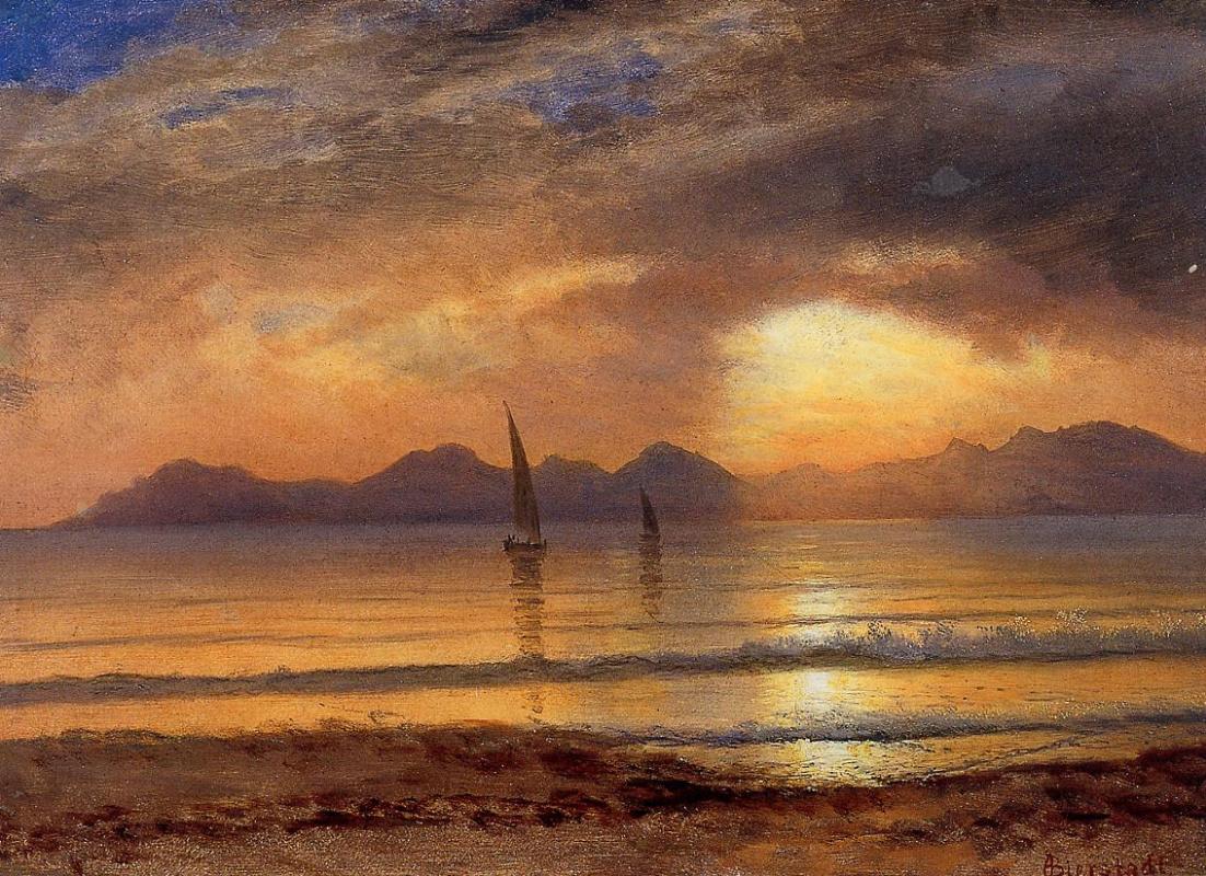 Альберт Бирштадт. Закат над озером в горах