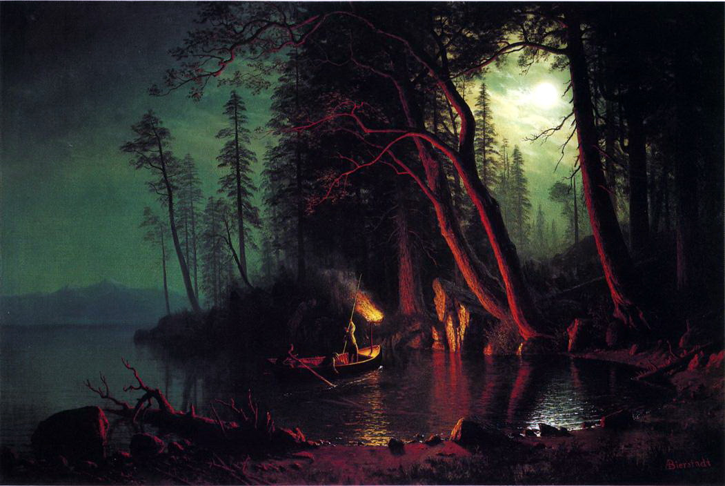 Альберт Бирштадт. Ночная рыбалка на озере Тахо