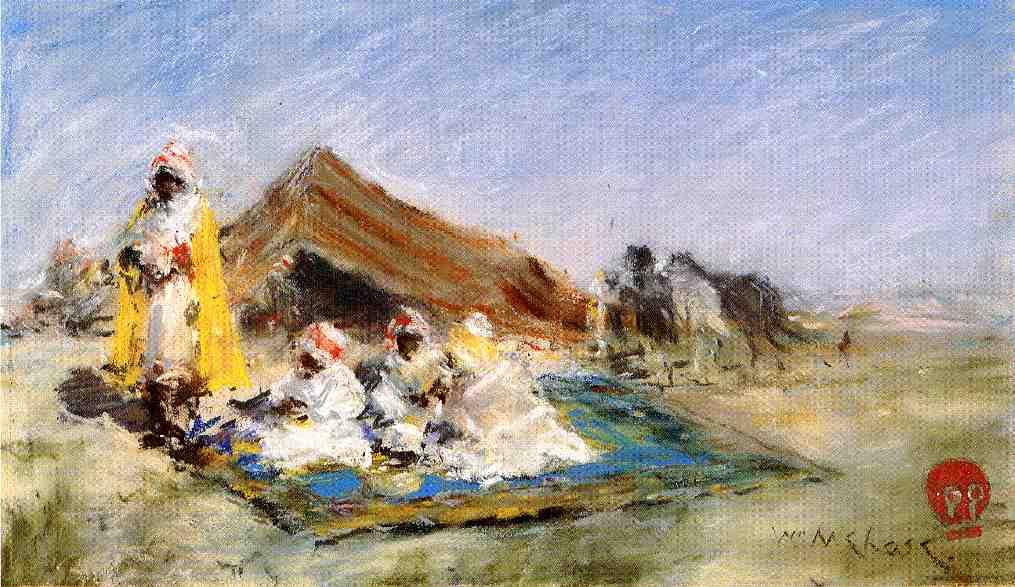 William Merritt Chase. Eastern sketch. The Arab camp