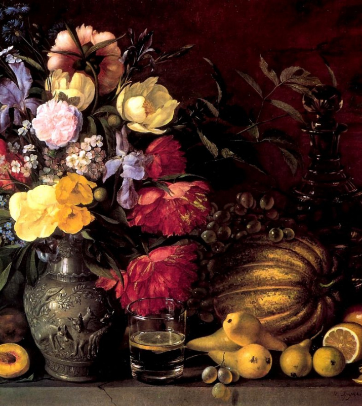 Ivan Fomich (Trofimovich) Khrutsky. The flowers and fruits. Fragment