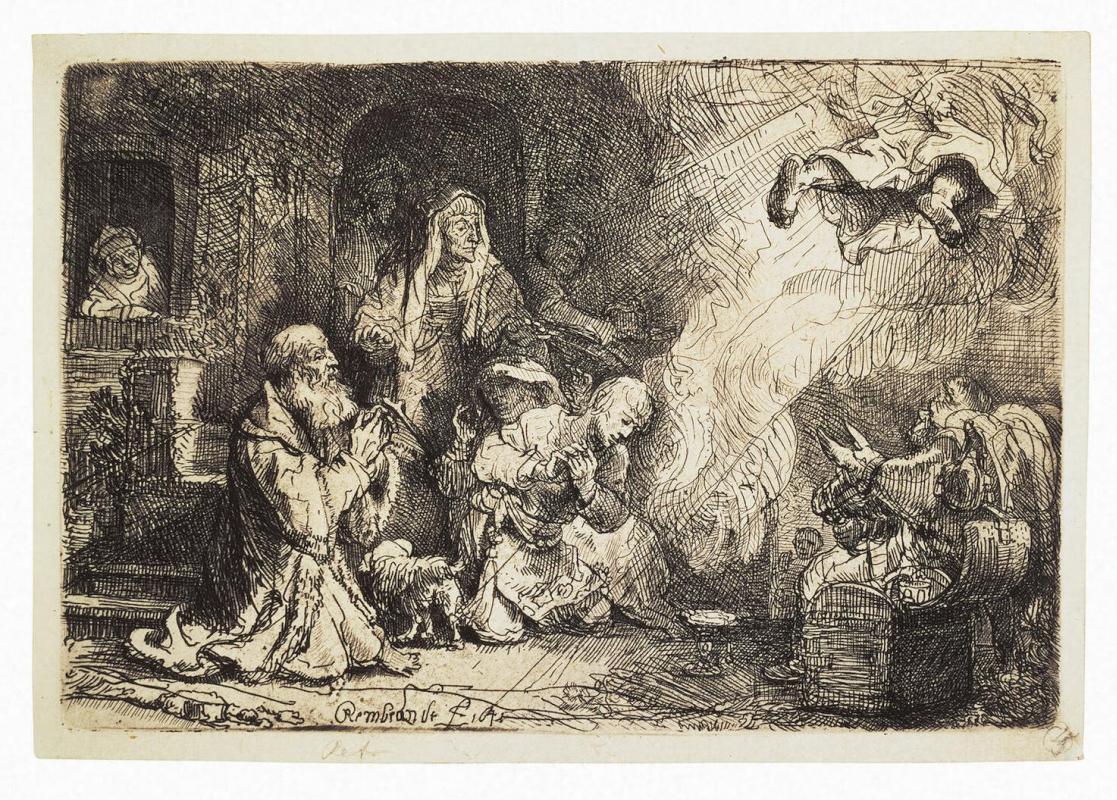 Рембрандт Харменс ван Рейн. Ангел, покидающий семью Товия