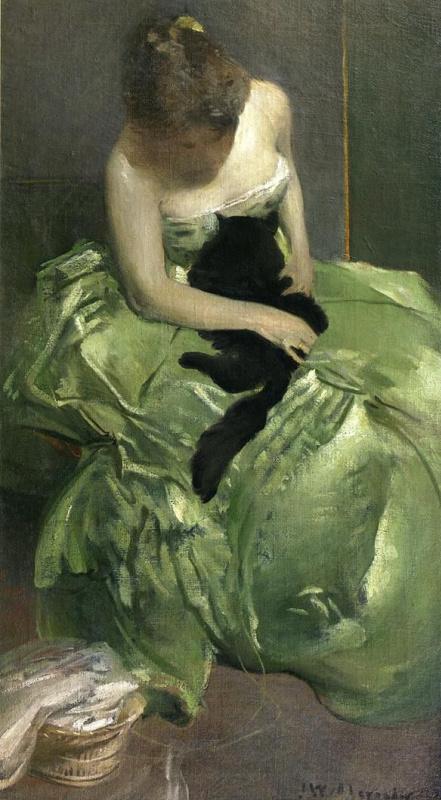 Джон Уайт Александер. Женщина в зелёном платье