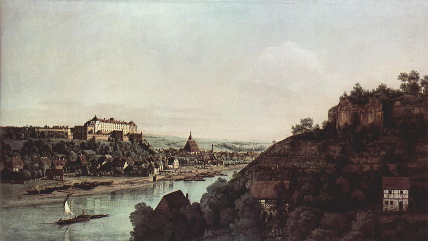 Джованни Антонио Каналь (Каналетто). Вид Пирны, Пирна со стороны виноградников близ Просто, с крепостью Зонненшайн