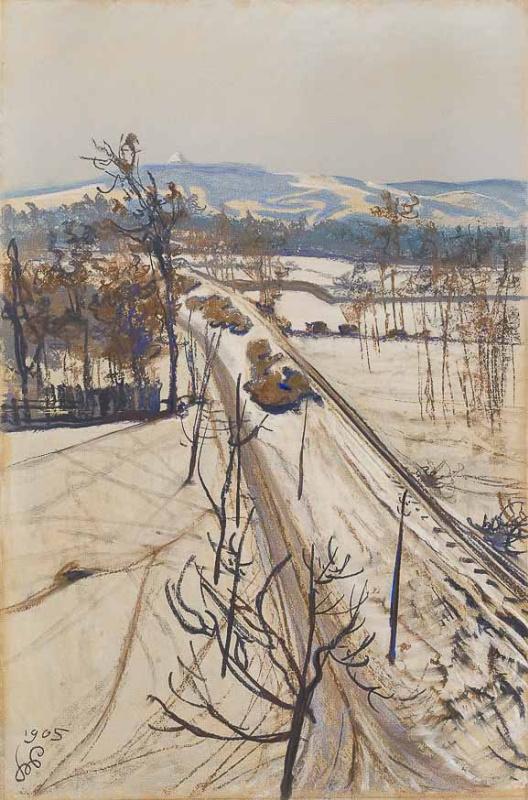 Зимний пейзаж с Курганом Костюшко