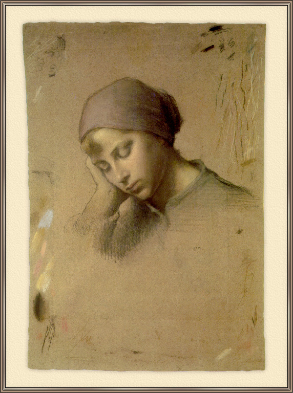 Жан-Франсуа Милле. Голова молодой девушки