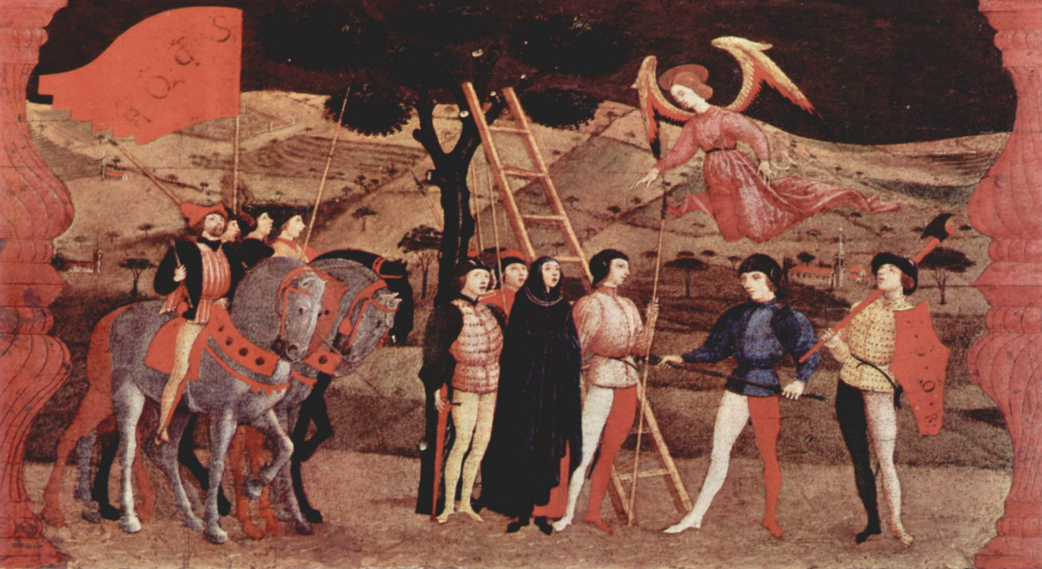 Paolo Uccello. The legend of the communion. The repentant woman is executed, she prays before her death, and she is an angel
