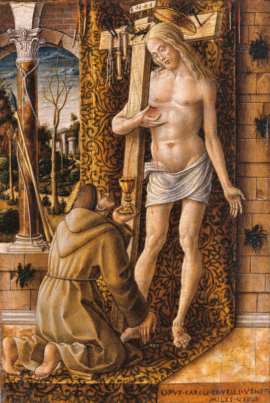 Carlo Crivelli. St. Francis of Assisi collects blood dripping from the wounds of Christ