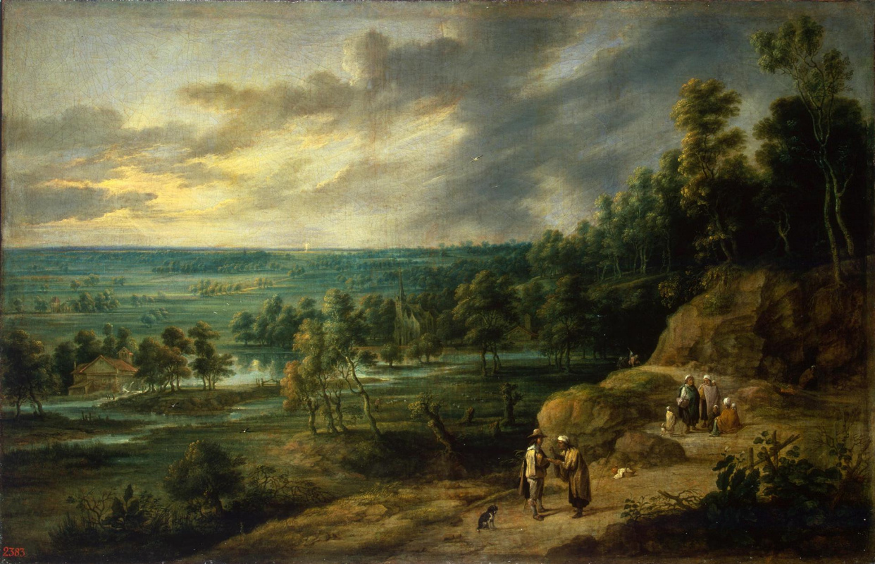 David Teniers the Younger. Landscape with a fortune teller, a river and a watermill (co-authored with Lucas van Youden)