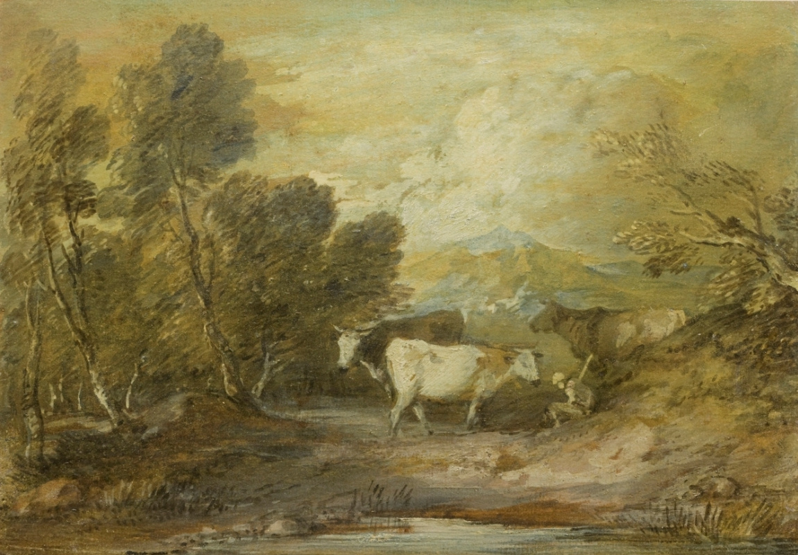 Thomas Gainsborough. Landscape with herdsman and three cows at the pond