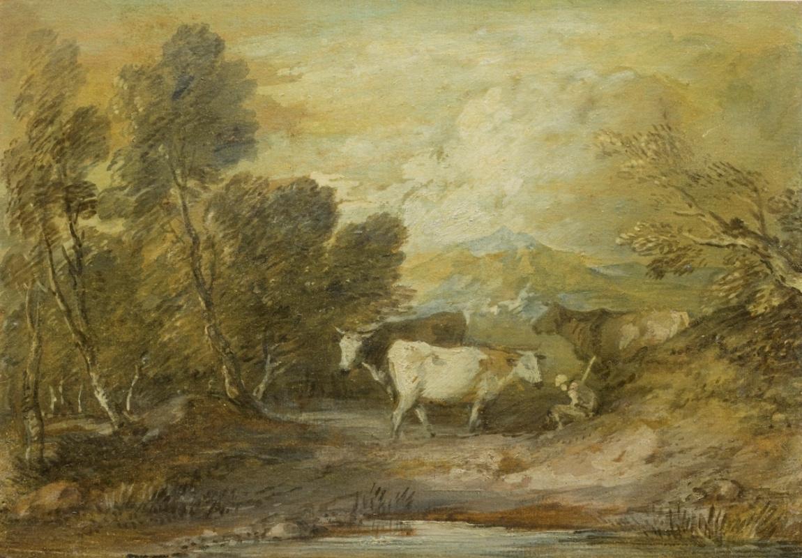 Томас Гейнсборо. Пейзаж с пастухом и тремя коровами у пруда