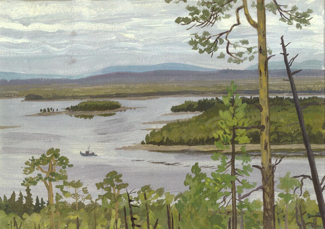 Vladimir Iosifovich Khmelevsky. Pines over the strait