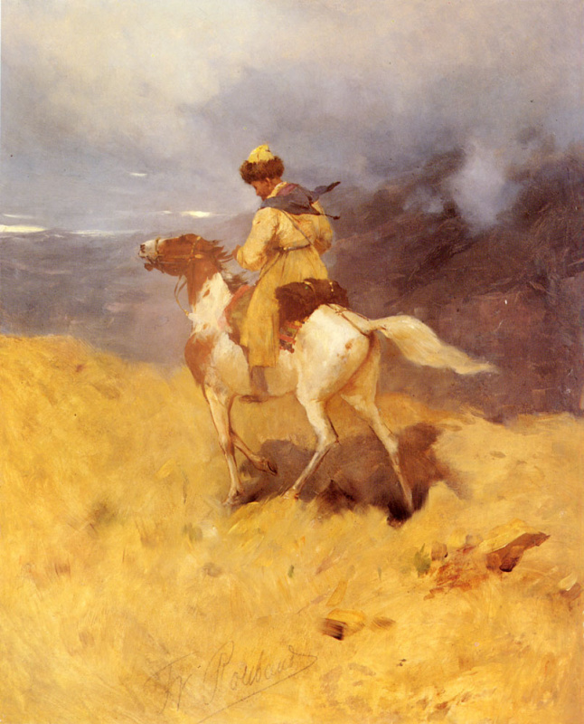Franz Alekseevich Roubaud. Rider and mountain landscape
