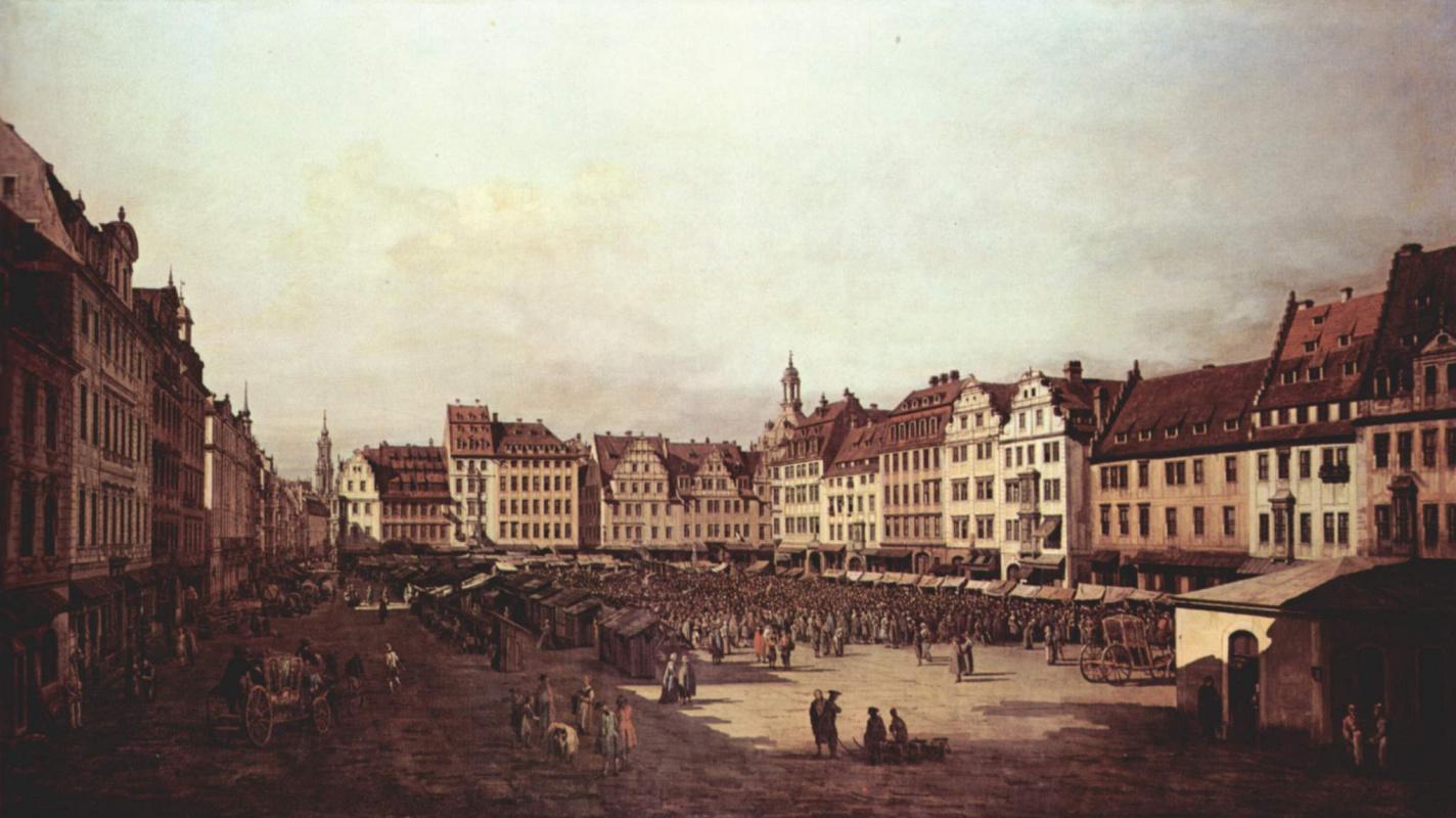 Джованни Антонио Каналь (Каналетто). Вид Дрездена, старый рынок со стороны Морского переулка