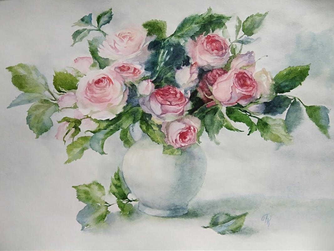 Polina Komkova. Roses in a vase (copy)