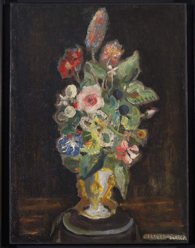 Константин Андреевич Терешкович. Букет цветов на черном фоне