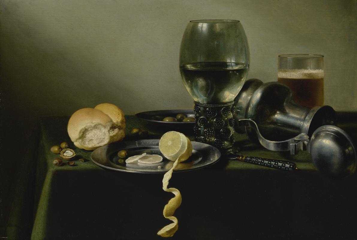 Pieter Claesz. Still Life with a Römer, an Open Jug and Lemon