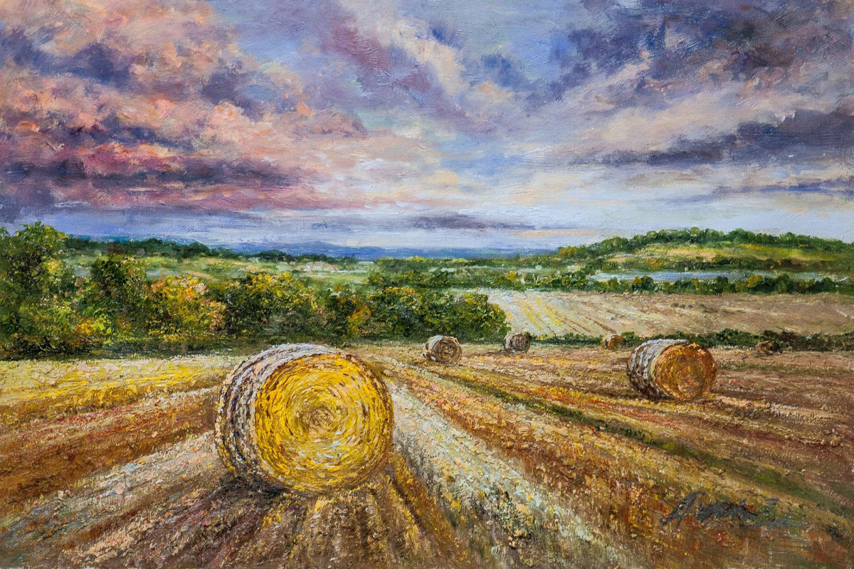 "Andrzej Vlodarczyk. Oil painting ""Fields after the harvest"""