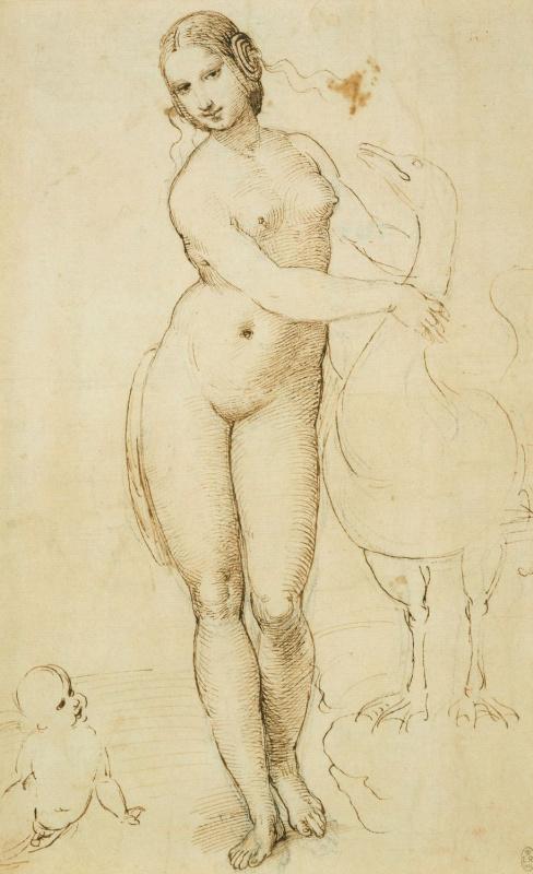 Raphael Sanzio. Leda and the Swan (Leonardo da Vinci)