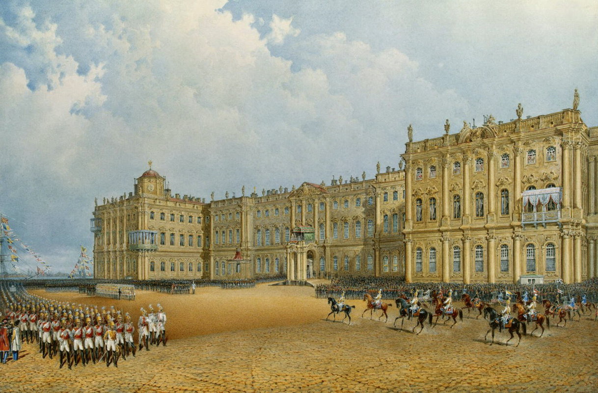 Василий Семенович Садовников. Вид Зимнего дворца со стороны Адмиралтейства