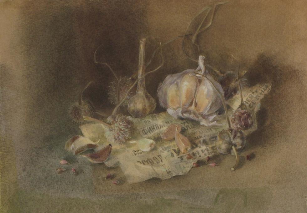 Tks. Still life with garlic