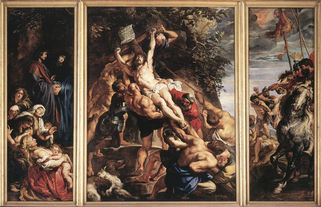 Peter Paul Rubens. The Erection of the Cross, triptych, general view, scene on the left: Mary and St. John, the installation of the cross by soldiers