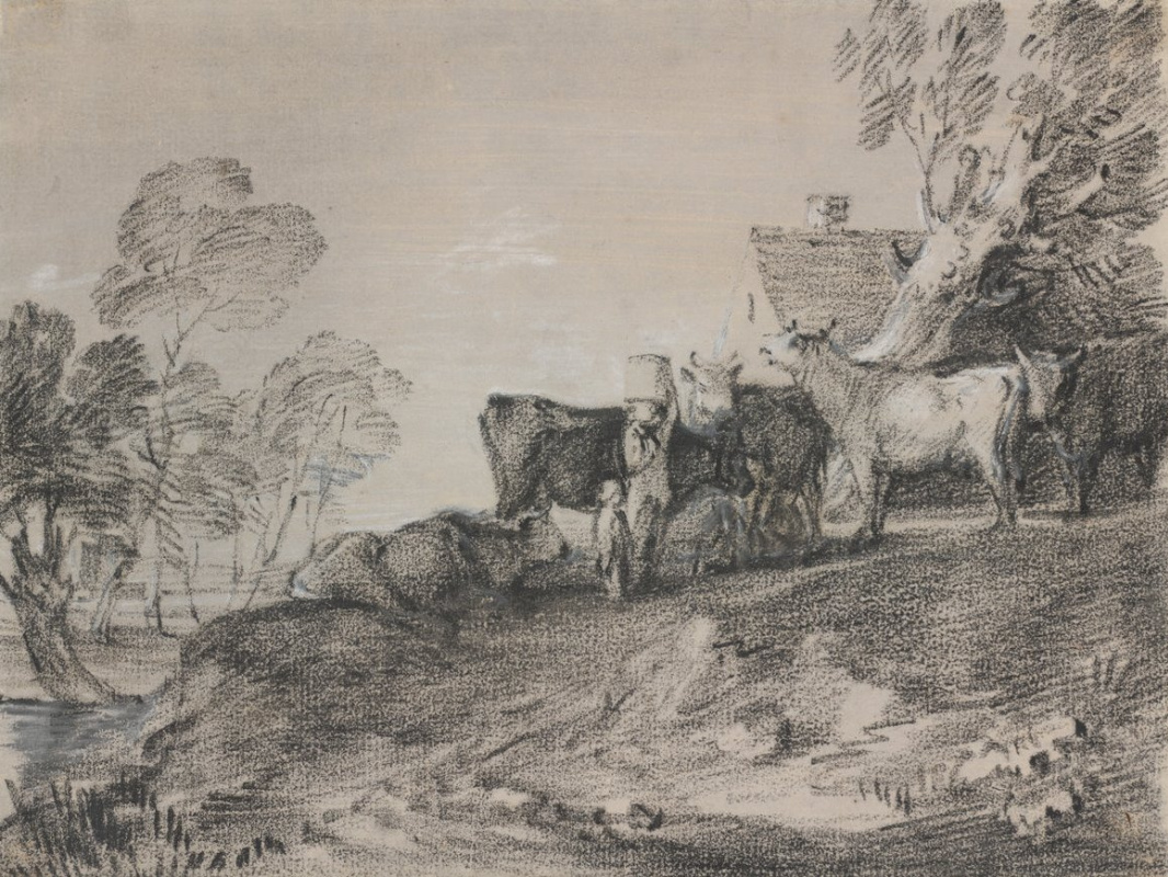 Thomas Gainsborough. Cows in a peasant house