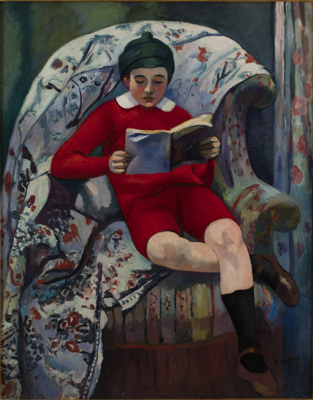 Claude in the red reading