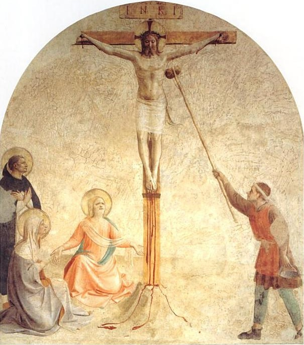 Fra Beato Angelico. Crucifixion with Mary and St. Dominic: Christ stretch the sponge with water. Fresco of the Monastery of San Marco, Florence
