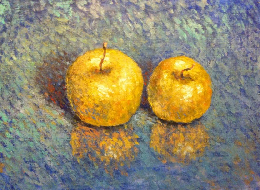 Yuri Gennadievich Piskunov. Apples on blue