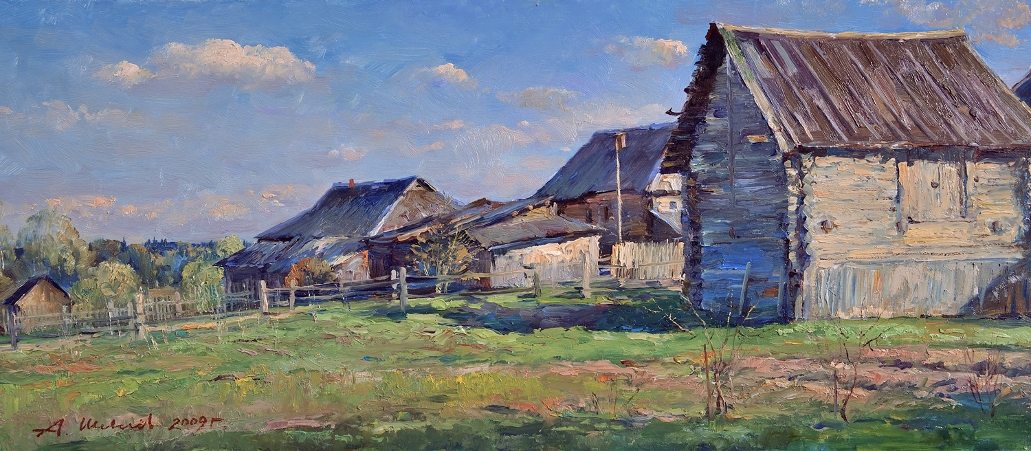 Alexander Victorovich Shevelyov. On the backyards. Oil, oil 26.5 x 63.4 cm. 2009
